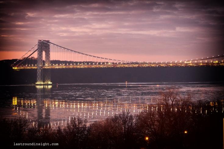 View of George Washington Bridge from the Riverside Park, Upper Manhattan.